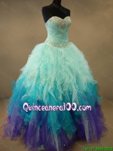 Fashionable Beaded and Ruffles Sweet 16 Dresses in Multi Color