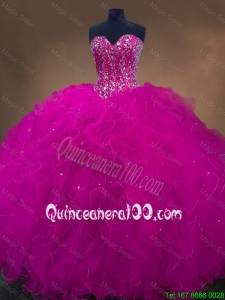 Popular Beaded Fuchsia Sweet 16 Dresses with Sweetheart for 2016