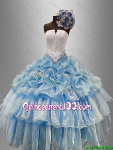 Pretty Strapless Beaded Quinceanera Gowns with Ruffled Layers for 2016