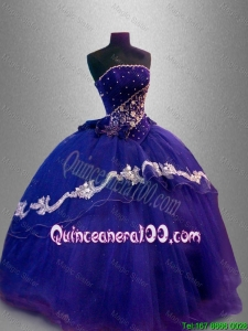 Luxurious Strapless Quinceanera Dresses with Appliques and Beading