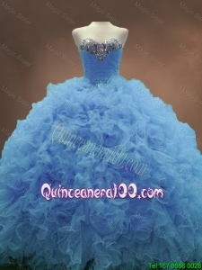 Popular Sweetheart Ruffles and Beaded Quinceanera Gowns in Blue