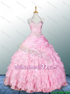 Pretty Halter Top Pink Quinceanera Dresses with Appliques