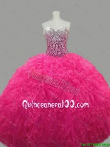 Puffy Sweetheart Hot Pink Quinceanera Dresses with Beading and Ruffles for 2016