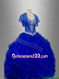 Romantic Sweetheart Quinceanera Dresses with Beading and Ruffles in Blue