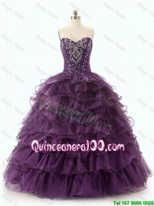 Beautiful Dark Purple Quinceanera Dresses with Ruffled Layers