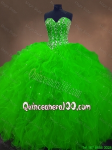 Perfect Beaded Spring Green Sweet 16 Gowns with Ruffles