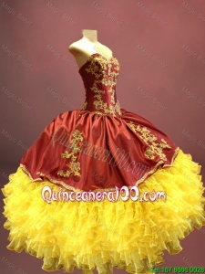Cheap Beautiful Wine Red and Yellow Sweet 16 Dresses with Appliques and Ruffles