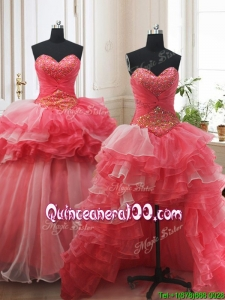 Beaded and Ruffled Layers Brush Train Detachable Quinceanera Dress in Red and White