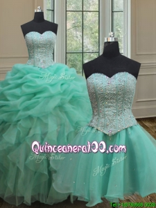 Ruffled and Bubble Beaded Bodice Turquoise Organza Detachable Quinceanera Dress