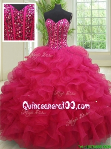 2017 Perfect Sweetheart Organza Fuchsia Quinceanera Dress with Beading and Ruffles