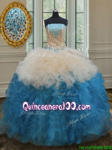 Gorgeous Beaded Bodice and Ruffled Quinceanera Dress in Champagne and Baby Blue