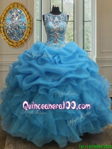 Popular See Through Scoop Beaded and Bubble Quinceanera Dress in Baby Blue