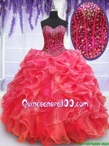 Affordable Visible Boning Beaded Bodice Coral Red Quinceanera Dress with Ruffles