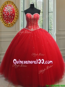 Best Selling Puffy Skirt Visible Boning Beaded Bodice Quinceanera Dress