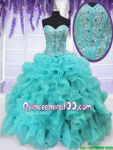 Cheap Visible Boning Aquamarine Quinceanera Dress with Beading and Ruffles