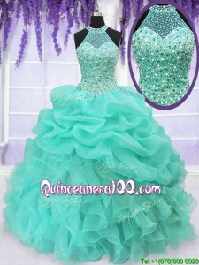 Elegant Beaded Decorated Halter Top and Bodice Quinceanera Dress with Ruffles