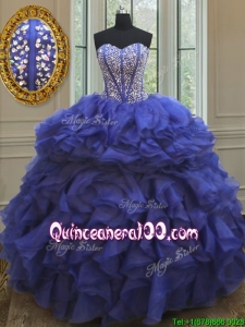 Elegant Visible Boning Beaded Bodice and Ruffled Quinceanera Dress in Royal Blue