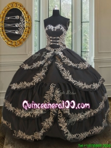 Exclusive Taffeta Black Sweet 16 Dress with Embroidery and Ruffled Layers