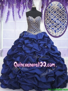Latest Taffeta Royal Blue Quinceanera Dress with Beading and Bubbles