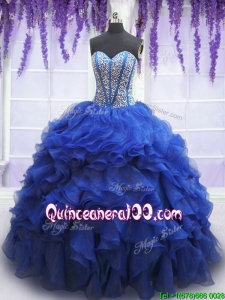Most Popular Visible Boning Ruffled Quinceanera Dress with Beaded Bodice