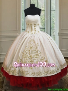 New Style Strapless Red and White Quinceanera Dress with Embroidery and Ruffled Layers