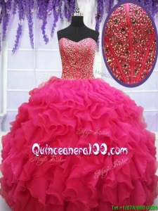 Popular Visible Boning Beaded Bodice and Ruffled Quinceanera Dress in Hot Pink