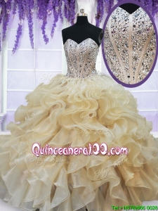 Pretty Visible Boning Beaded Ruffled Quinceanera Dress in Champagne
