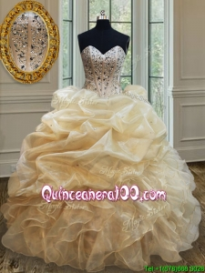 Simple Visible Boning Beaded Bodice and Ruffled Quinceanera Dress in Champagne