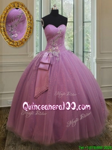 Best Selling Beaded and Belted Quinceanera Dress in Tulle and Sequins
