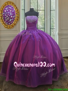 Classical Big Puffy Beaded Bust Organza Prom Ball Gown in Purple