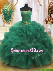 Classical Strapless Beaded and Ruffled Quinceanera Dress in Dark Green