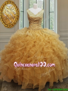 Exclusive V Neck Zipper Up Gold Sweet 16 Dress with Beading and Ruffles