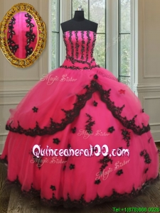 Exquisite Strapless Black and Hot Pink Prom Ball Gown with Appliques