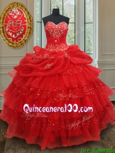 Gorgeous Beaded and Sequined Quinceanera Gown with Ruffled Layers and Pick Ups