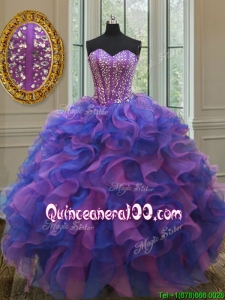 Gorgeous Big Puffy Sweetheart Quinceanera Dress in Purple and Blue