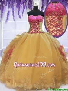 Laced Beaded and Ruffled Gold and Hot Pink Quinceanera Dress with Brush Train