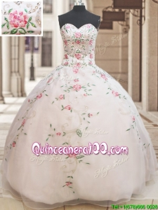 Latest Really Puffy Embroideried and Beaded White Sweet 15 Dress in Organza