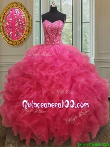 Lovely Visible Boning Beaded Bodice Quinceanera Gown in Hot Pink