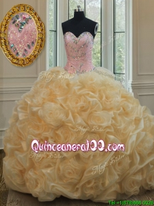 Luxurious Beaded Brush Train Champagne Quinceanera Dress in Rolling Flowers