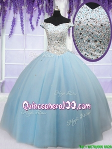 Luxurious Off the Shoulder Light Blue Prom Ball Gown with Beaded Bodice