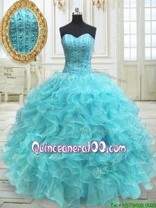 Modern Visible Boning Beaded Bodice and Ruffled Aqua Blue Quinceanera Dress