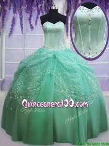 Most Popular Sequined Decorated Skirt Apple Green Quinceanera Dress with Beading