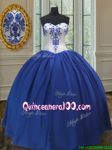New Arrivals Taffeta Royal Blue Quinceanera Gown with Embroidery