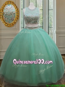 Pretty Two Piece Zipper Up Apple Green Quinceanera Dress with Beading