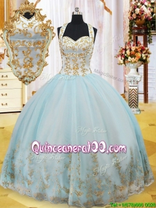 Summer Luxurious Halter Top Gold Appliques Prom Ball Gown in Light Blue