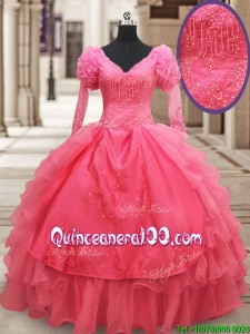 Classical Half Sleeves Watermelon Red Quinceanera Dress with Ruffled Layers and Embroidery