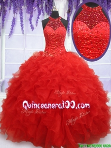 High End See Through Halter Top Red Sweet 16 Dress with Beading and Ruffles