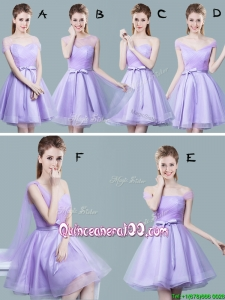 Cheap Tulle Bowknot and Ruched Dama Dress in Lavender