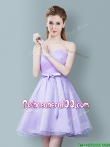 Modern Empire Sweetheart Bowknot Lavender Dama Dress in Tulle
