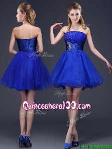Romantic Strapless Beaded Organza Short Dama Dress in Royal Blue